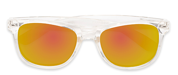 Garnet in Clear with Orange Mirrored Lenses
